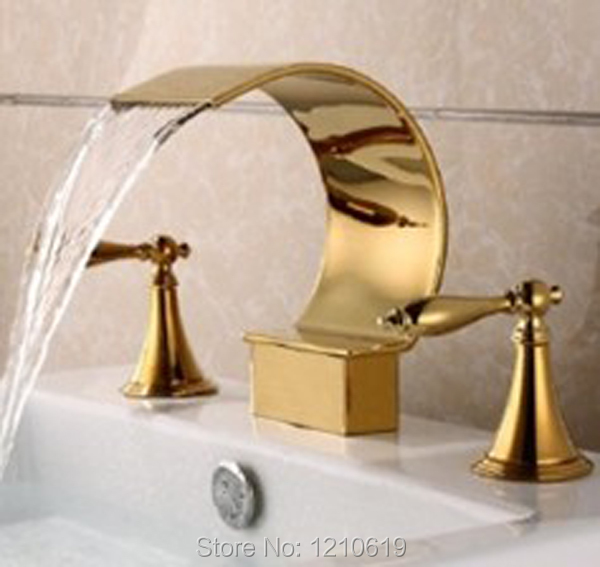 Newly US Free Shipping Deck Mounted Luxury Golden Polished Bathroom Sink Basin Faucet Dual Handles Three Holes Mixer Tap чехол для sony xperia z4 compact deppa air case red