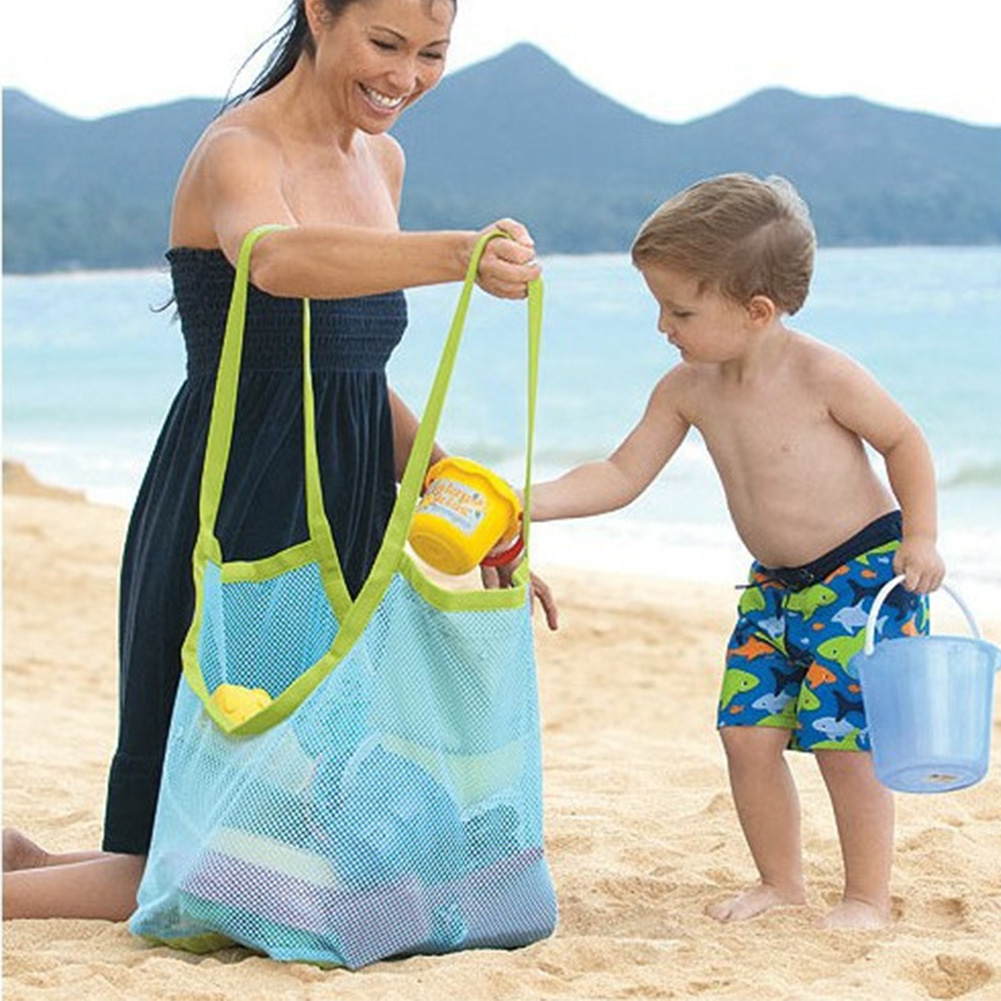 New Summer Casual Mesh Beach Bag Tote Portable Carrying Beach Ball Toys Storage Shoulder Bags