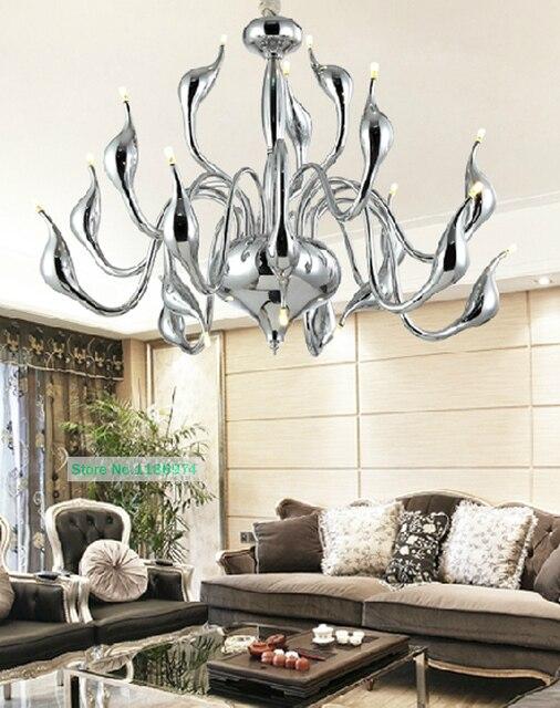 Silber 18 lichter led schwan Lampe kronleuchter für wohnzimmer große ...