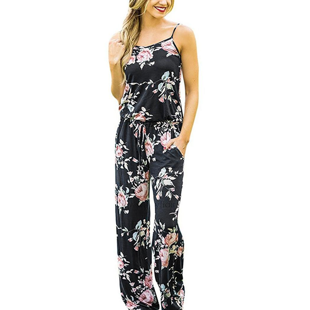Women Casual Floral Printed Sleeveless Straps Loose Bow Summer O Neck Jumpsuit with Long Pockets(China)