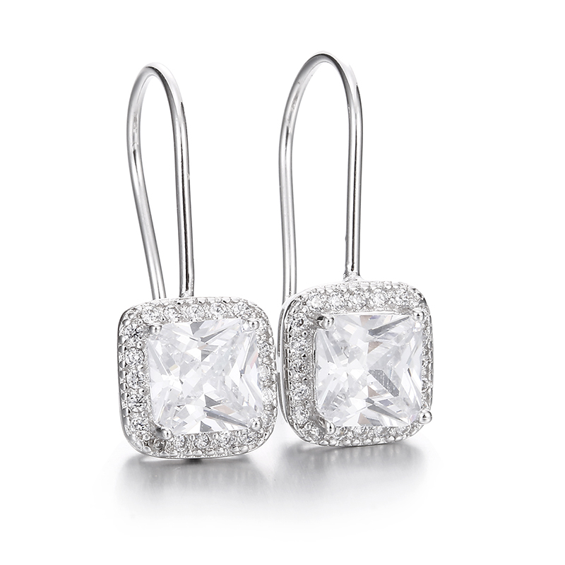 100% 925 sterling silver fashion shiny cz zircon square ladies`drop earrings women jewelry female gift drop shipping cheap