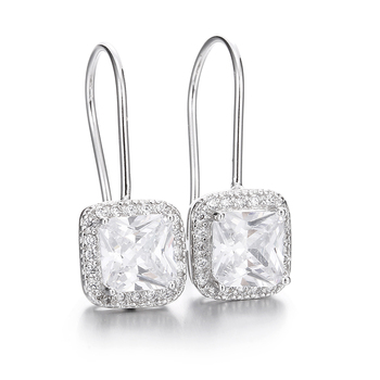 100% 925 sterling silver fashion shiny cz zircon square ladies`drop earrings women jewelry female gift drop shipping cheap 100% 925 sterling silver fashion lucky flower ladies stud earrings jewelry female anti allergy birthday gift drop shipping