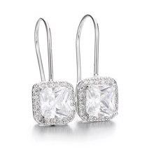 Женские квадратные серьги капельки из 100% стерлингового серебра
