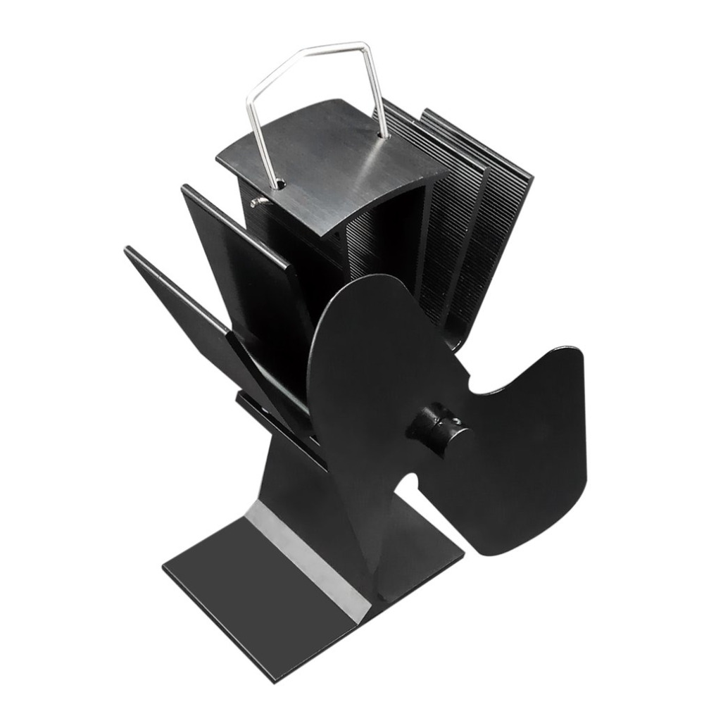 Durable 2 Blades Aluminum Black Heat Powered Stove Fan Fuel Saving Eco-Friendly Wood Burner Stove Fan New Arrival free shipping cheap heat powered stove fan in black gold silver coppery blade