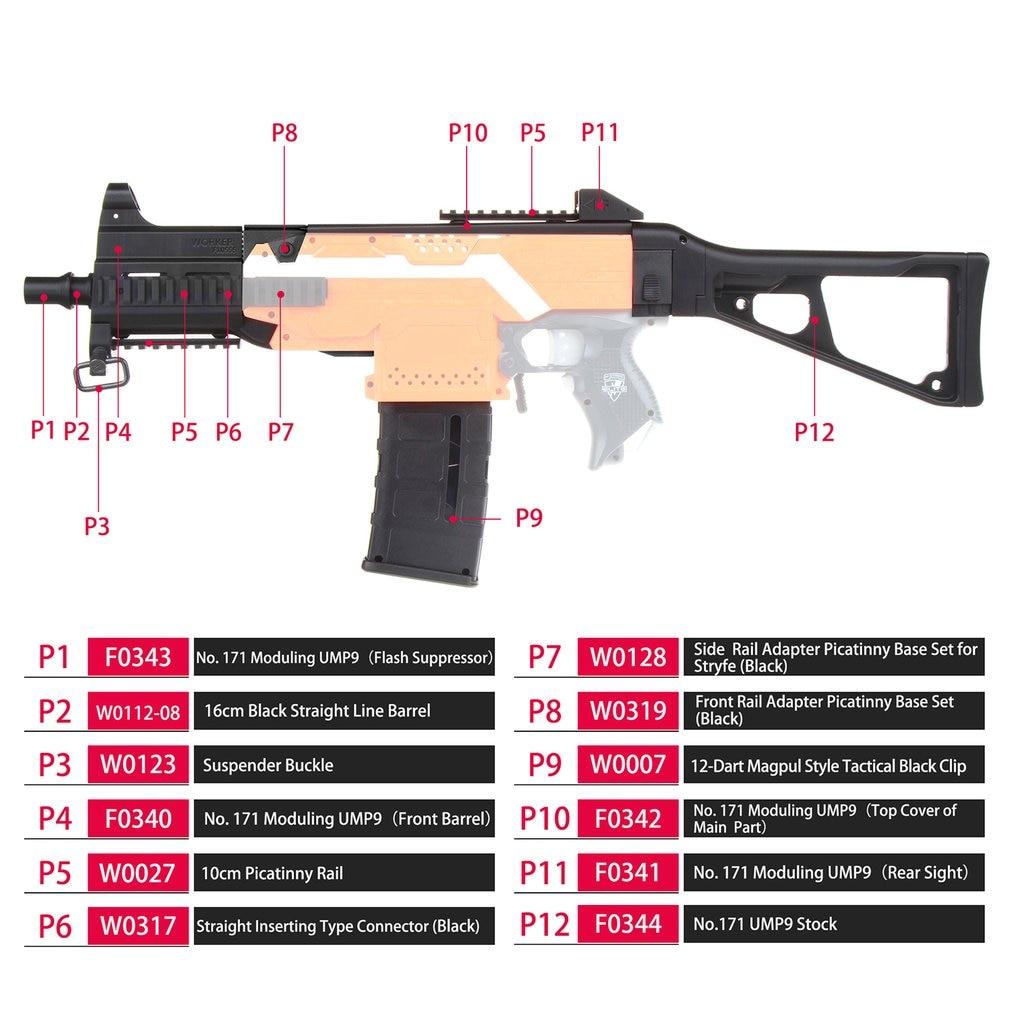 Ouvrier F10555 UMP9 fusil Imitation Kit impression 3D haute résistance Combo pour Stryfe modifier jouet pour Nerf pièces bricolage jouets pistolet cadeau - 3
