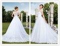 Vestido De Noiva  2015 New style  Wedding Dresses  A Line Sexy lace backless Wedding Dresses Lace Vestido Casamento Bridal Gowns