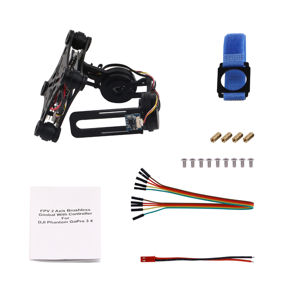 Black FPV 2 Axle Brushless Gimbal With Controller For DJI Phantom GoPro 3 4 SEP 12