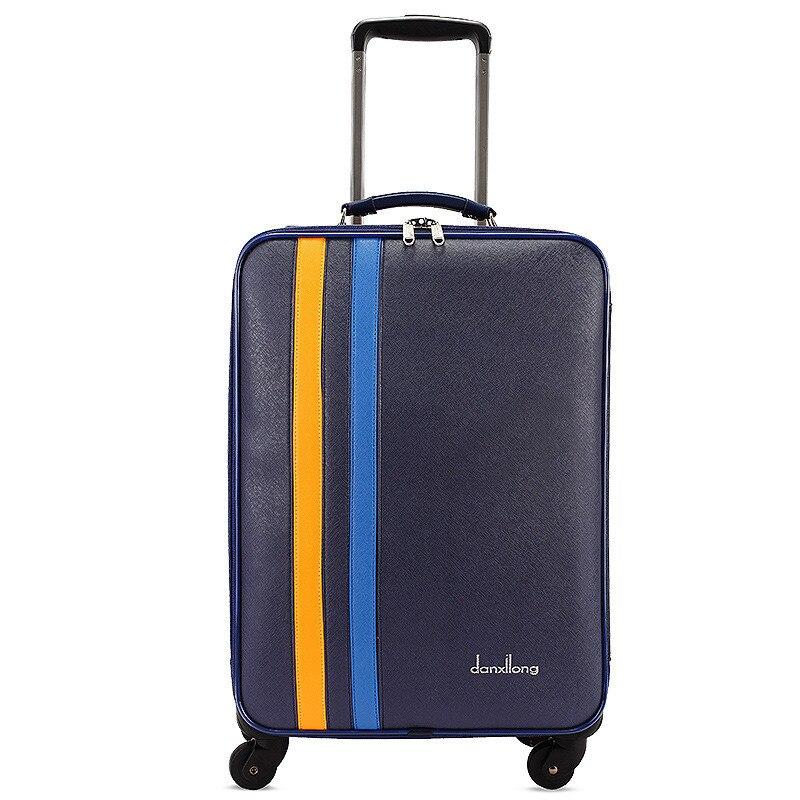 Оптовая продажа! 20 дюймов искусственная кожа багаж на Универсальный колеса для обувь для мужчин и женщин, синий модные багаж, fgf-0005-20