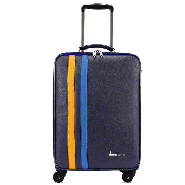 Wholesale!20 inch pu leather travel luggage on universal wheels for men and women,blue fashion trolley luggage,FGF-0005-20