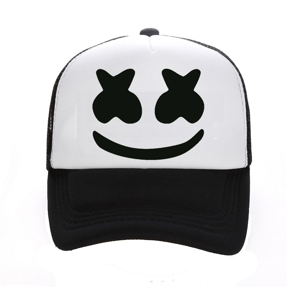 a635977353547 New Arrived marshmello face men baseball cap boy casual homme cap Black  White Hat Snapback Hat
