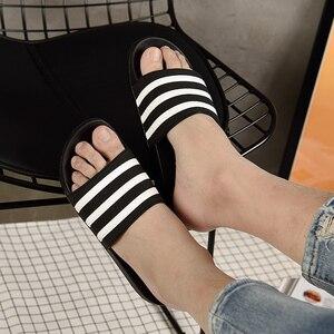 Image 5 - ASIFN Mens Slippers EVA Men Shoes Women Couple Flip Flops Soft Black White Stripes Casual Summer Male Chaussures Femme Slides