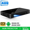 Brand AUN Android Projector D8S, 2G+16G,1280*720 Resolution,Support 1080P 4K Video, LED MINI proyector (Optional D8 beamer)