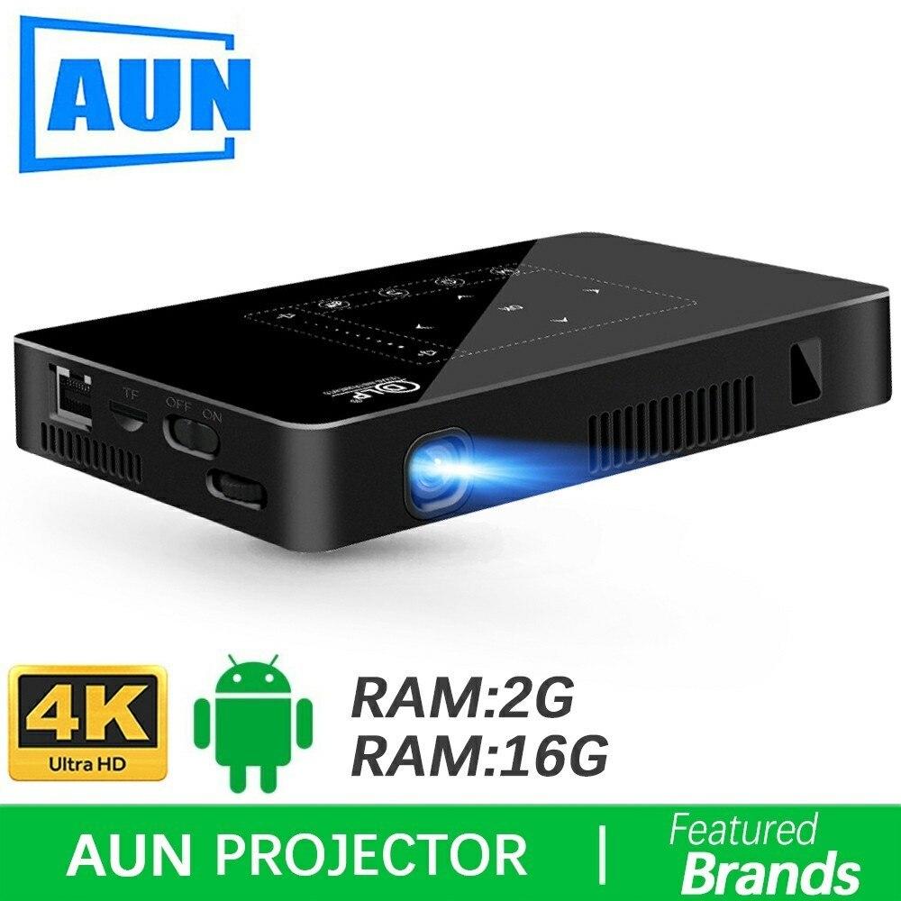 Marca AUN proyector Android D8I 2G + 16G 1280*720 de resolución apoyo a 1080 p 4 K Video LED MINI Proyector (opcional D8 beamer)