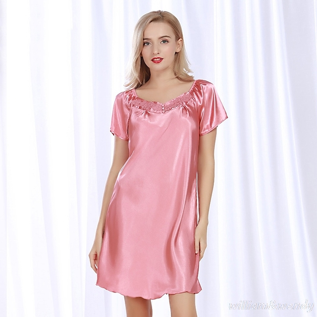 Women Summer Sexy Pink Red Large Neck Short Sleeve Nightgown Vintage  Nightdress Silky Sleepwear Elegant Homewear Sleepshirt 46f8b85f8
