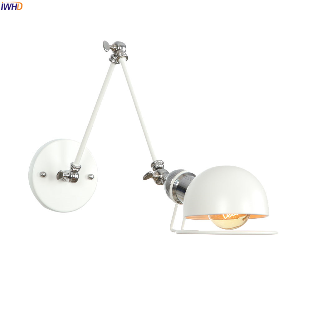 IWHD White Adjustable Swing Long Arm Wall Light Fixtures Bedroom Stair Bathroom Edison Loft Vintage Wall Lamp Sconce Lighting|LED Indoor Wall Lamps| |  - title=