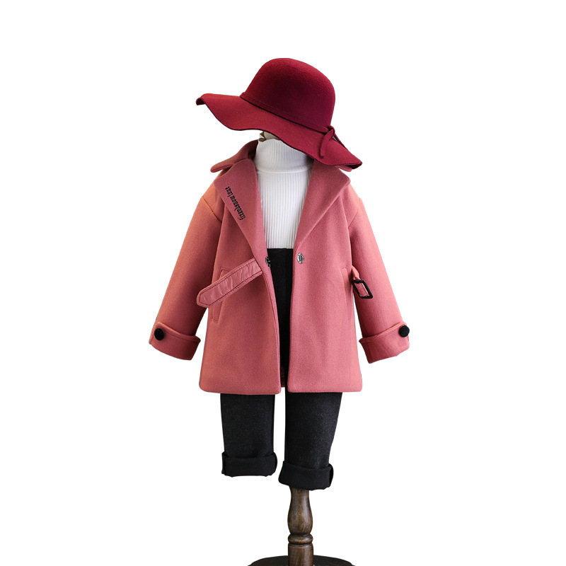 DFXD High Quality Winter Baby Girls Long Sleeve Pink Princess Wool Coat Fashion Long Single Buckle With Belt Thick Outwear 2-8Y fashion red longline coat with belt
