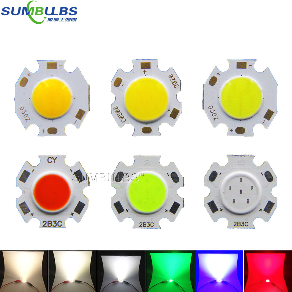 10pcs/lot 3W 5W 7W Rounded LED COB Light Source Chip On Board 20mm Diameter for Spotlight Downlight Red Blue Green White Bulbs wholesale 2pcs lot 18w led underground light stainless steel blue green red yellow for private garden spotlight led luminaria