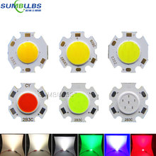 10pcs lot 3W 5W 7W Rounded LED COB Light Source Chip On Board 20mm Diameter for