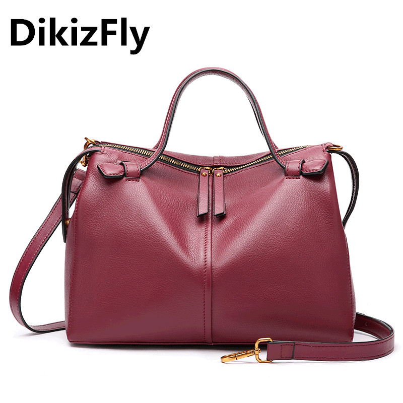 DikizFly Famous Brand Design Women Bag Real Genuine Leather Totes Bags Woman Crossbody Bags Soft Shoulder Bag For Women Handbags