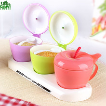 FANYI 2/3 Grids Cute Apple-shaped Spice Jar Creative Plastic Seasoning Boxes Kitchen Storage Tank with Spoons for free shipping
