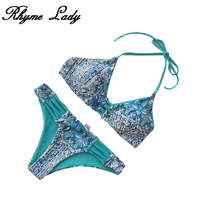 Rhyme Lady Bikini New Non Detachable Swimwear Low Waist Swimsuits Women Print Bathing Suit Cross Backless