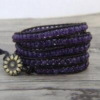 Натуральный камень браслет Фиолетовый wrap браслет из бисера Фиолетовый Камень браслет обруча Boho кожаный обруч камень ювелирные изделия