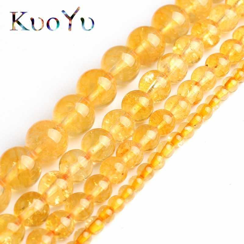 Natürliche Gelbe Kristall Citrines Quarz Perlen Runde Lose Spacer Perlen Für DIY Machen Armband Halskette Schmuck 15 ''4/ 6/8/10mm