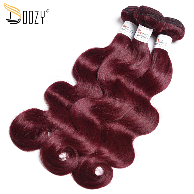 Doozy Color 99j Mahogany Red Brazilian Human Hair Bundles 3pcs Lot