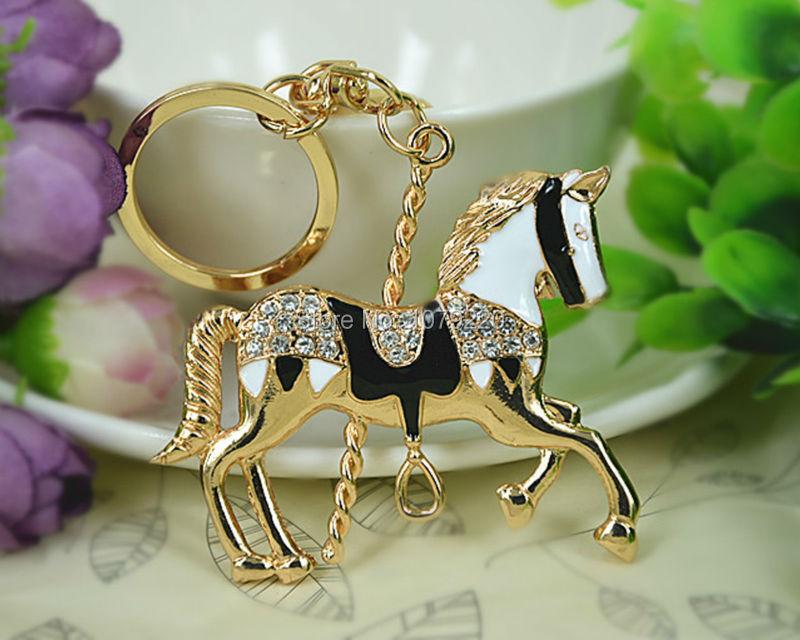 XU Horse Merry go round Lovely Keychain Keyring Rhinestone Crystal Charm Pendant Key Bag Chain Gift
