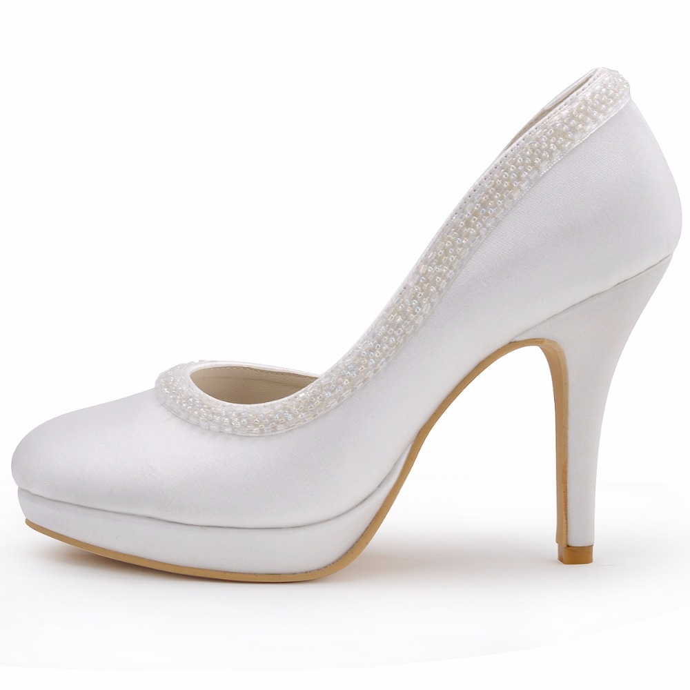 Woman High Heel White Red Close Toe Platform Pearls Bridesmaids Pumps Satin  Lady Evening Party Wedding Bridal Shoes EL 005C PF-in Women s Pumps from  Shoes ... 78d7f499e642