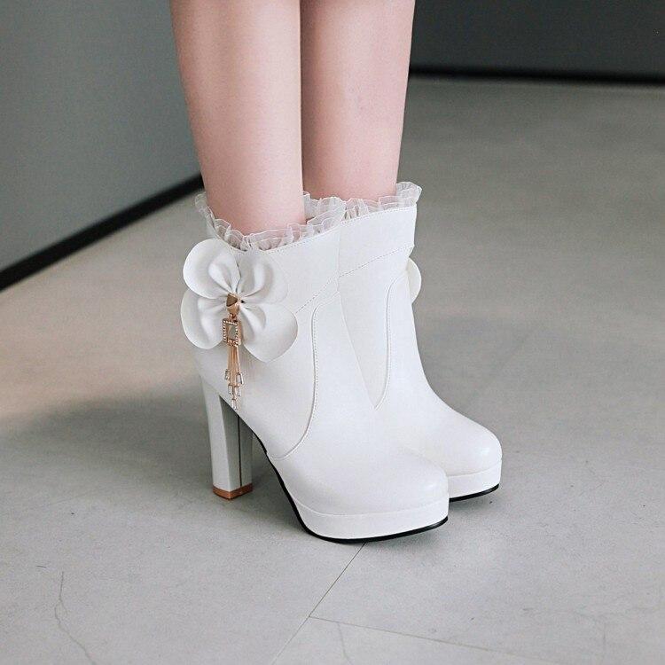 e736c7759 blanco 34 Dulce De Rosa Mujer rosado Blanco Zapatos 43 Volantes Pxelena  Altos Boda Corta Tobillo Caliente Tacones Negro Bowtie Botas ...