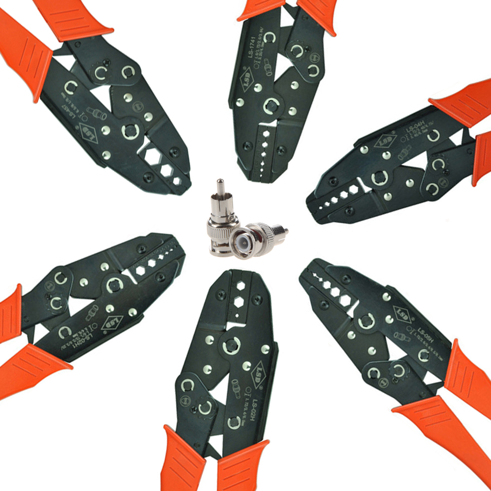 Coaxial Crimping Plier  RG6 RG55 RG58 RG59 LMR400 Cable Crimper SMA/BNC Connectors Crimp Tool Carbon Steel Ratchet Crimping Tool