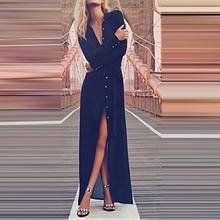 Women's Long Sleeve Dress Lapel Button Down Roll Up Black Spring Summer Elegant Long Dress Vestidos Cardigan Shirt Party Dress