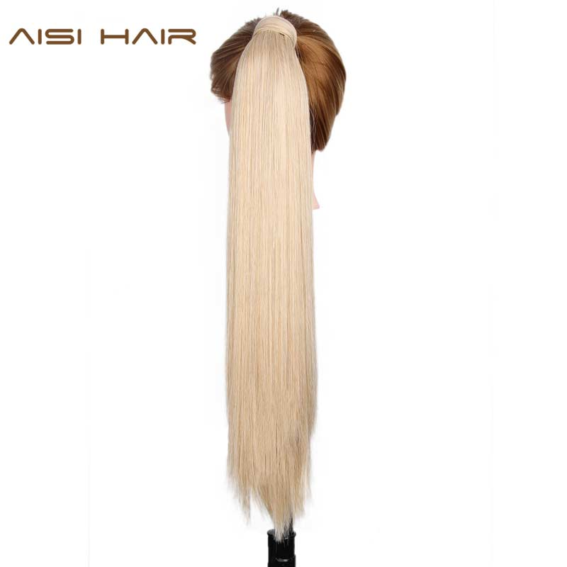 Ponytail-Extensions Fake-Hair Women Wraparound Synthetic for 16-Colors Available High-Temperature-Fiber