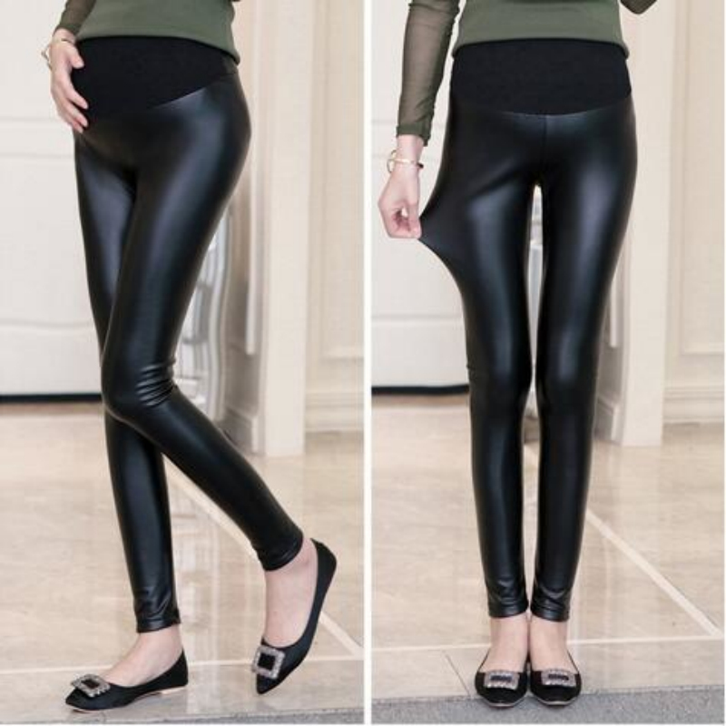 Large Size Autumn Thin Warm Pregnant Women Adjustable Maternity Leggings PU Leather Pants Trousers Pantyhose Clothing Clothes