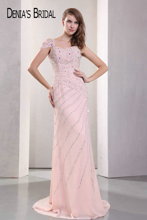 Real Photos Pink Sweetheart Beaded Sheath   Evening     Dresses   Floor-Length Sweep Train Long Prom Gowns
