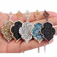 ZWPON 2019 Pave Mixture Crystal Morocco Pendant Long Necklace for Women Fashion Statement Sweater Necklace Jewelry Wholesale