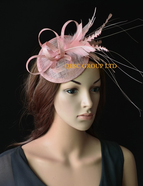 900df00a8f135 NEW Blush pink sinamay feather fascinator bridal fascinator for Races kentucky  derby wedding and party.