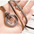 Wholesale Vintage Style Genuine Leather Pendant Necklace For Women Double Round Accessories Necklaces Birthday Gift