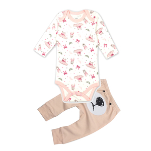 Baby Girls Clothes Set Bodysuits Top+Dots Leggings Cartoon bear embroidery Warmer 2Pcs Outfits Cotton baby Suits carter Amour