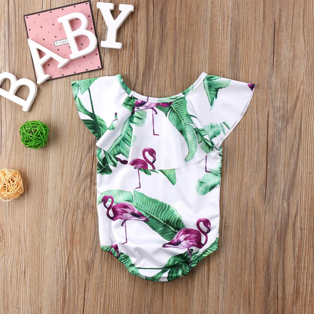 Летний детский купальник для девочки дети Фламинго цветочный принт цельный бикини с рюшами Детские бикини милый купальник для младенцев 16