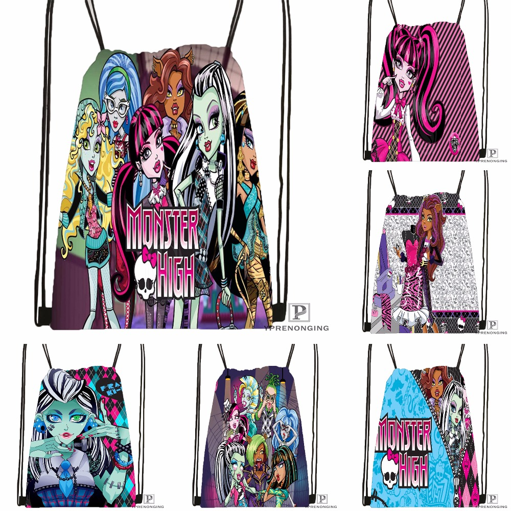 CustomMonster High Drawstring Backpack Bag Cute Daypack Kids Satchel (Black Back) 31x40cm#180531-04-14