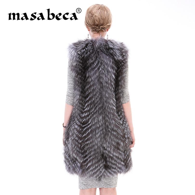 gestreifte langermellose 100Echtpelz Weste flauschige Fox Winterkleidung Frau Pl Jacke warme knwZNO0PX8