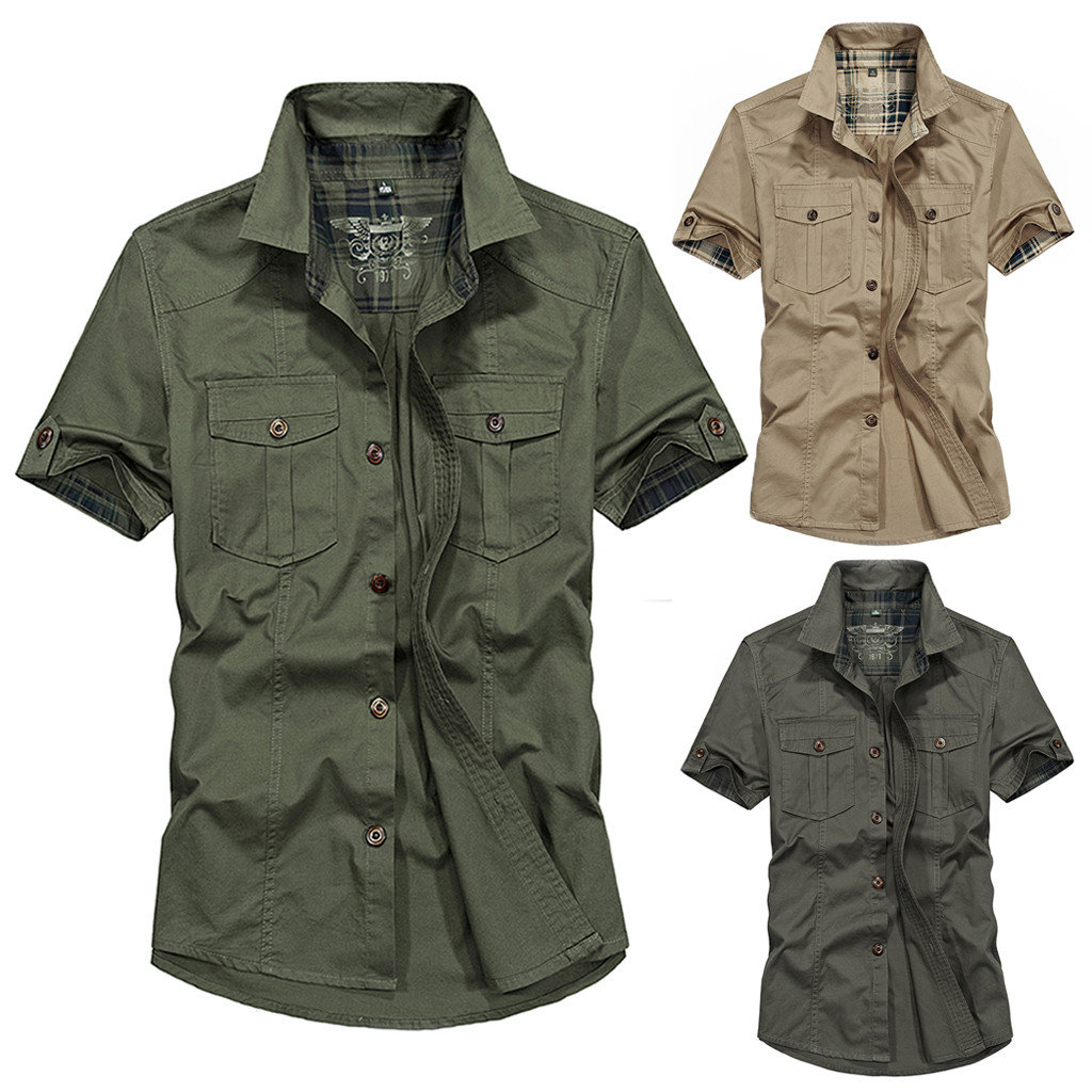 Plus Size Men Military Pure Color Pocket Short Sleeve Shirt Top Blouse M-4XL Camisa Masculina Chemise Homme Streetwear Hawaiian