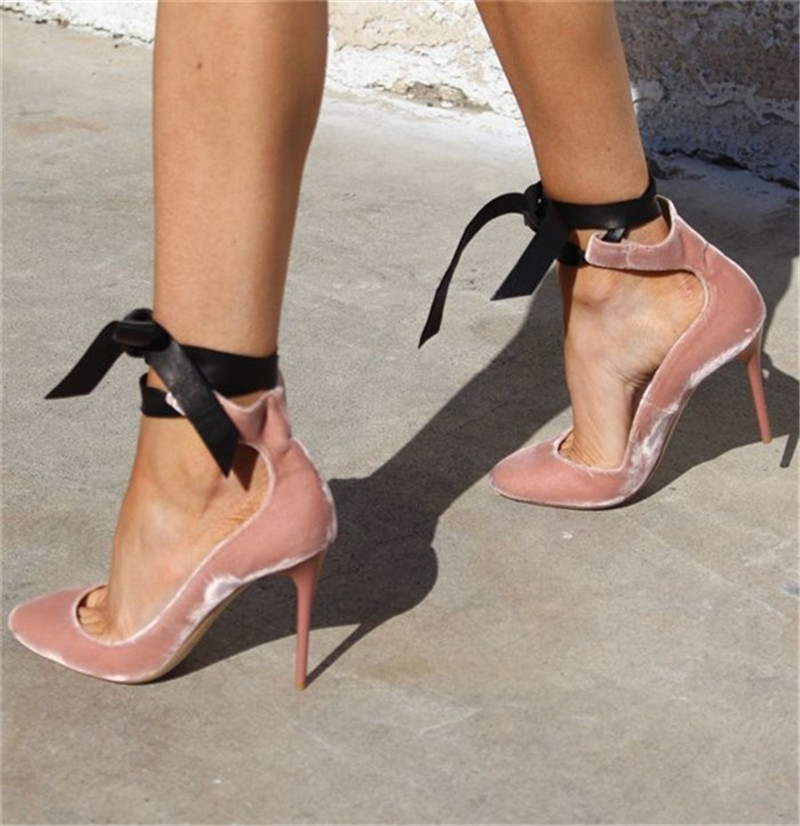 2017Pink Pointed Toe Flock Velvet Women Ankle Wrap High Heels Party Dress Lady Designer Pumps Shoes Lace Up Stiletto Shoes Woman wholesale lttl new spring summer high heels shoes stiletto heel flock pointed toe sandals fashion ankle straps women party shoes