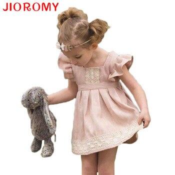 228499731 INS verano lindo y cariño de los niños ropa de bebé de color rosa hoja de  loto de encaje princesa vestido 1-2 años edad para las muchachas k1