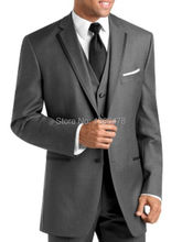 Tailored Suits 2 buttons Dark gray Notch Lapel Groom Tuxedos Best Man Suits Groomsmen Men's Wedding Dress Suits JacketPantsVestT