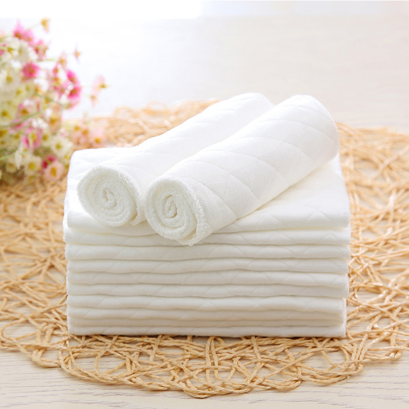 Super Absorbsent Pure Cotton Diaper Paper 3 Layers Newborn Baby Nappies Washable White Non-blooming