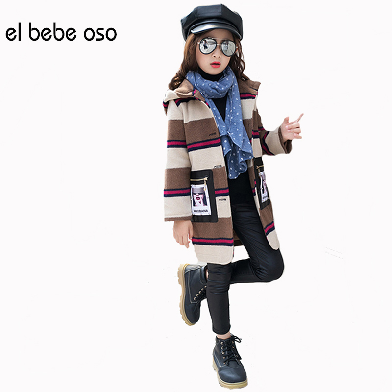 el bebe oso Girls Coats Jackets Winter Clothes Kids Striped Long Style Coat Children Outerwear Teenage Girls Overcoat XL582 el bebe oso children cotton padded hooded clothes girls thicken warm coats baby winter jackets kids outwear coat xl525