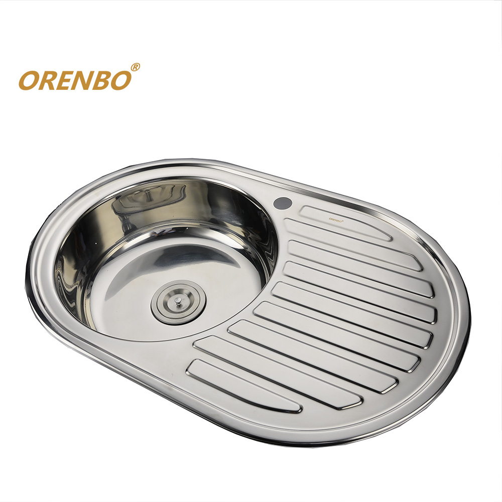 116 cm stainless steel double bowl single drainer inset sink right - Orenbo Right Wing Round Kitchen Sink Kitchen Sink Stainless Steel Single Bowl Sink With Trainer Drainer And Drain Pipe
